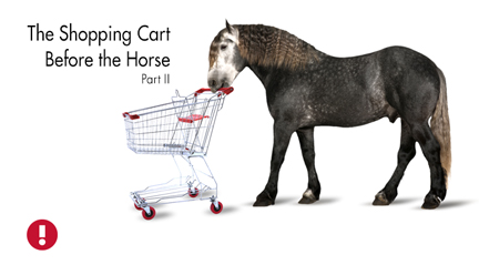 the shopping cart before the horse